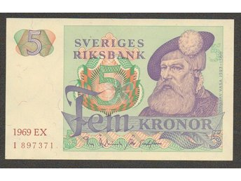 Sedlar Sweden 5 kr 1969 Missing backside print, possibly unique !