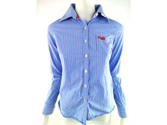 Superdry elegant shirt Size S Blue 100% Cotton Logo print