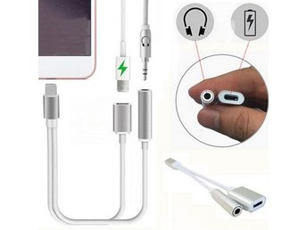 Silver 2 in1 iPhone 7 Lightning to 3.5mm Aux hörlurar adapter, Laddare Kablar