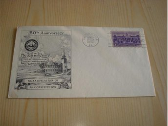 The Ratification of the Constitution 1788-1938 USA förstadagsbrev FDC