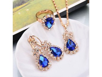HELT NYTT!! SMYCKESET BLUE CRYSTAL Crystal Rhinestone Necklace Earring Ring