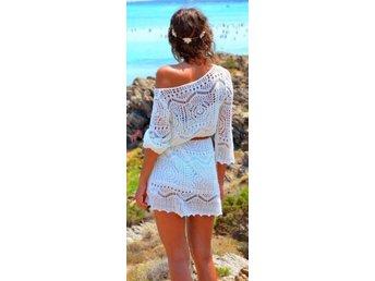 Helt ny h&m hm vit virkad klänning storlek medi.. (368907856