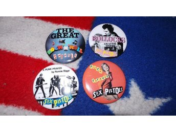 SEX PISTOLS - LOT - 4st STORA Badges / Pins / Knappar (Punk, 1977, Rotten, Sid,)
