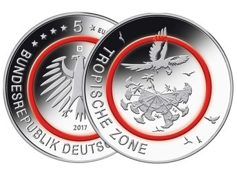 "Germany 2017 ""Tropical Zone"" 5 Euro Unc/MS !! Mintmark ""D"" (München) !!!"