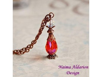 handgjort halsband Harry Potter trolldryck flaska potion fenix orange koppar