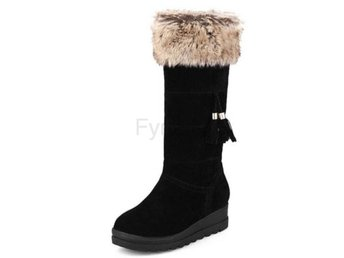 Dam Boots Plush Winter Half Knee Boots Shoes Woman Black 36