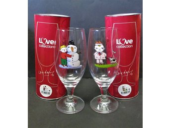 Lasse Åberg, 2 ölglas från Love Collection i originalförpackning, nya.