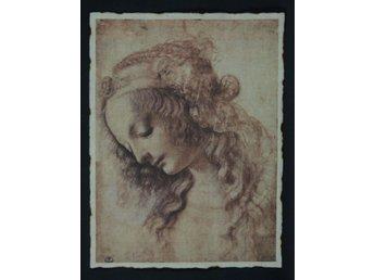 """Javascript är inaktiverat. - Malmö - En väldigt vacker tygkopia av Leonardo Da Vinci's """"Woman's Head"""". Tygtavlan har """"brända"""" kanter som ger den ett ålderdomligt utseende. Mått: 40 x 30,5 cm - Malmö"""