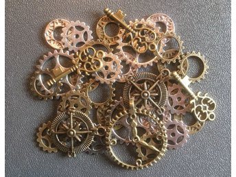 Steampunk MIX 34 kugghjul mm i tibetmetall. Nickelfritt!