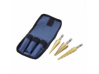 "3 st Coated Step Drill Bit Set Quick-change 1/4"" Hex Shank larger Titanium"