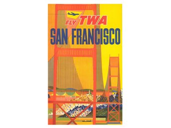 SAN FRANCISCO GOLDEN GATE ART DÉCO TWA FLYG POSTER A1