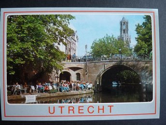 Utrecht Bro Holland Vykort~ Oudegracht with terrace on the wharf ~ Nederländerna