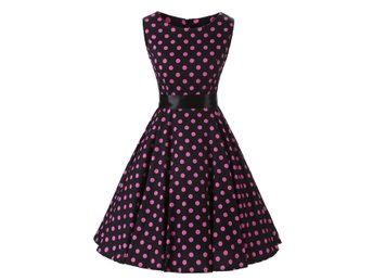 Stl M Polkadot Rockabilly Klänning 50 tal Swing Dress  DC3021