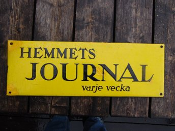 Emaljskylt Hemmets Journal