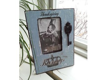 Vacker ram i trä, blå och brun - Thanksgiving Blessings - Shabby Chic