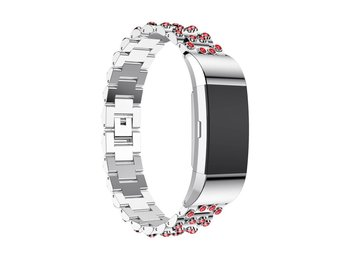 Fitbit Charge 2 Exklusivt klockband med diamanter - Silver