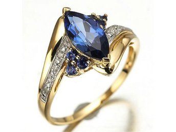 Womens Blue Sapphire Guldfylld Engagement Wedding Ring Size 18 Storlek 18