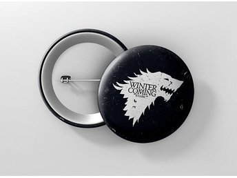 Game Of Thrones Direwolf House Stark Wolves Pin / Knapp / Badge Stor 57mm