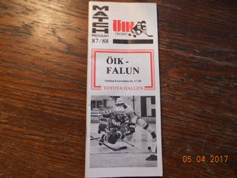 ÖIK - Falun, 8 Nov 1987 - MATCHPROGRAM shockey