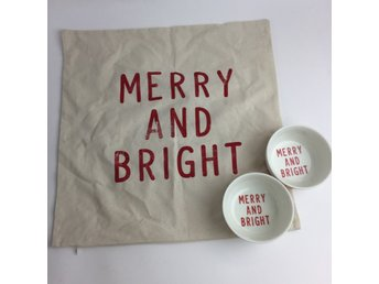 H&M Home, Skålar, Kuddfodral, Merry And Bright, Gräddvit/Röd