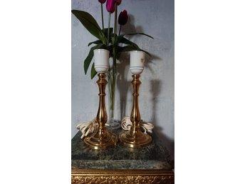 2 st. LAMPOR mässing LAMPFOT bordslampa fönsterlampa lampa