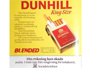 DUNHILL KING SIZE BLENDED, TIDNINGSANNONS Retro 1987