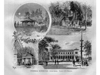 """Träsnitt """"Porla brunn"""" – i nyhetstidning från 1880 - Brastad - Träsnitt """"Porla brunn"""" – i nyhetstidning från 1880 - Brastad"""