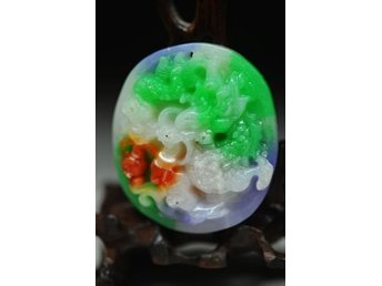Beautiful Chinese Natural Jade Jadeite Carved *Dragon & Beast* Pendant Hänge