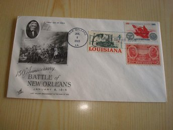 Battle of New Orleans 150th Anniversary 1965 USA förstadagsbrev 3 frimärken