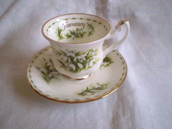 Liten kopp, minikopp m fat, Royal Albert, Snowdrops, Januari