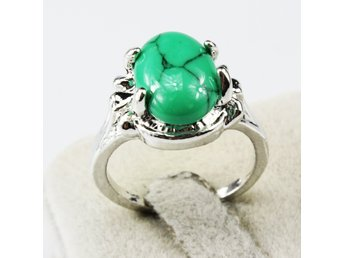 Turquoise Gemstone Fashion Unqiue Jewelry Silver Plated Men Women Ring Size 20