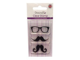 1 FRP CLEAR STAMPS - MUSTACHE & GLASSES TILL SCRAPB./KORT