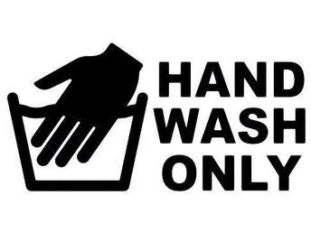 Bil dekor Hand wash only Svart 12x26 cm / Bil Vinyl Folie Dekal Utomhus Bildekal - Kungsgården - Bil dekor Hand wash only Svart 12x26 cm / Bil Vinyl Folie Dekal Utomhus Bildekal - Kungsgården