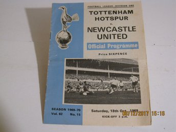 Program Fotboll Tottenham Hotspur - Newcastle United 1969 P.Jennngs B.Robson
