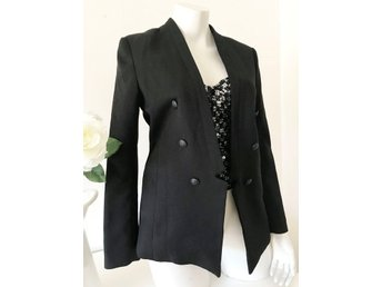 Svart öppen kavaj business blazer jacka HM H&M preppy working girl 38
