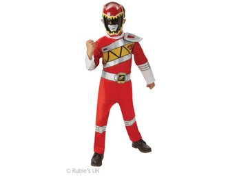 POWER RANGERS 110/116 cl (5-6 år) Dino Charge Red DELUXE Dräkt med mask