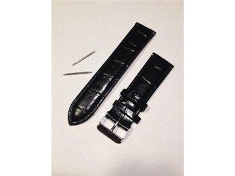 22 mm Klockarmband i svart konstläder. - Frövi - 22 mm Klockarmband i svart konstläder. - Frövi