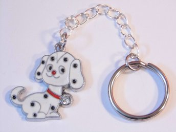 Dalmation hund nyckelring / Dalmation dog keyring