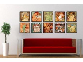 Zeit4art Alfons Mucha Träd 150x60cm 10 bilder 30x30 uppspänd Vier Jahreszeiten - 41-400 - Zeit4art Alfons Mucha Träd 150x60cm 10 bilder 30x30 uppspänd Vier Jahreszeiten - 41-400