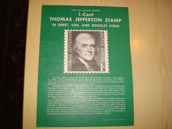 Thomas Jefferson Post on Bulletin 1968 USA