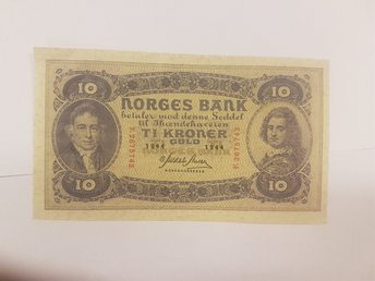 10 KRONOR  GULD   SEDEL 1944  NORGES  BANK