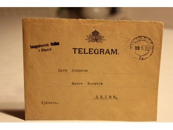 TELEGRAM TELEGRAFVERKET FRÅN 1920 FILIPSTAD GRUMS