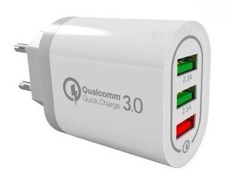 USB Laddare med 3 portar   QC 3.0 snabbladdning   Vit