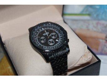 Klocka, svart stål kronograf - Skarpnäck - Klocka, svart stål kronograf - Skarpnäck