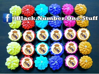 Real Madrid tårtoblater - Tårtbild - Cupcake / Muffin toppers