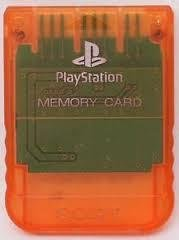 Minneskort Memory Card (Sony-original) till PlayStation PS1 orangegenomskinligt