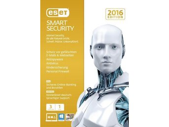 ESET Smart Security 2016 Antivirus - 3 PC / MAC 1 Års Licens