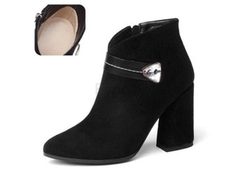 Dam Boots Pointed Toe Hoof Heels Women Boots black cloth 41