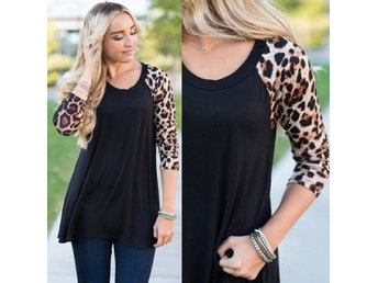 Snygg Tunika 3/4 Arm Top Stretch svart Leopard 54 56