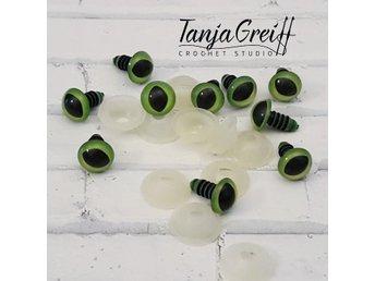 10 mm gröna amigurumi kattögon - 10 stycken (5 par) - Kalmar - 10 mm gröna amigurumi kattögon - 10 stycken (5 par) - Kalmar